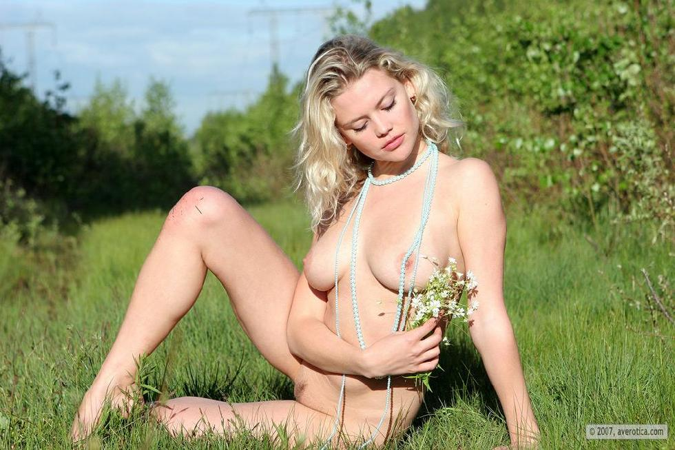 Naked Valentina is posing on the grass - 14