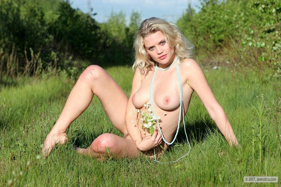 Naked Valentina is posing on the grass - 16