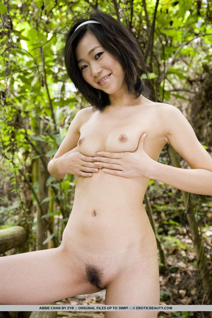 Young Asian is posing naked in the forest - Abbie Chan - 5