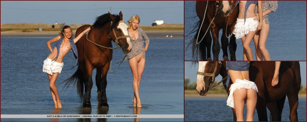 Two girls on the horse - Katy & Mila - 109