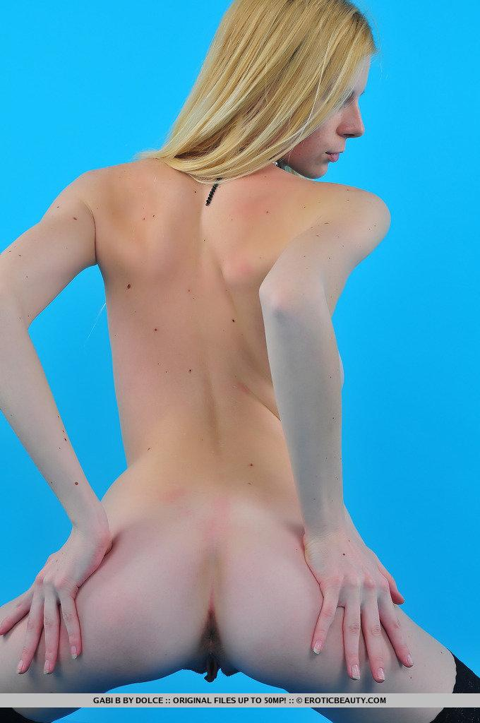 Skinny blonde in black stockings - Gabi - 14