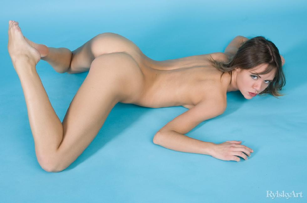 Naked Kalla is posing at a blue studio - 10