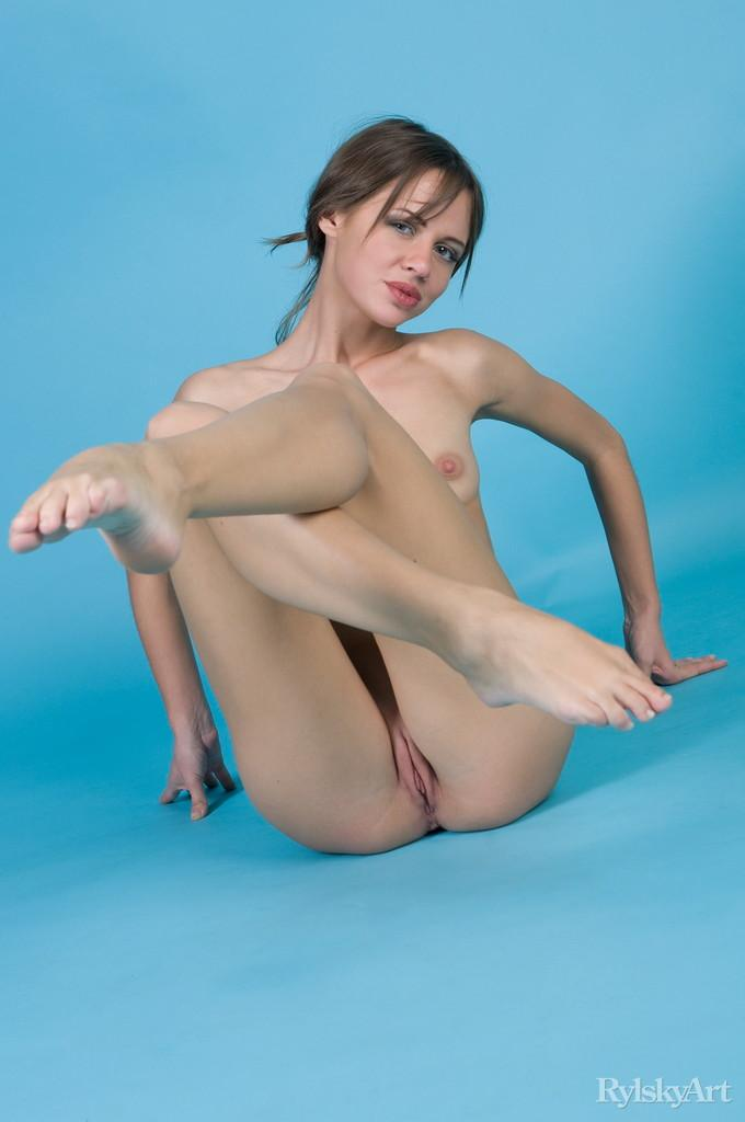 Naked Kalla is posing at a blue studio - 15