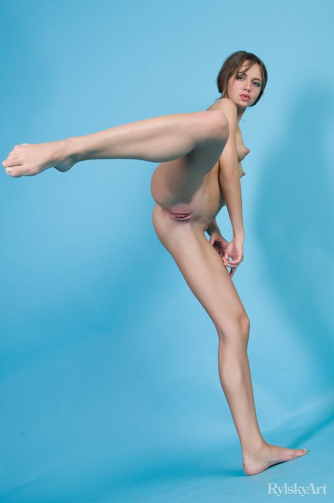 Naked Kalla is posing at a blue studio - 4