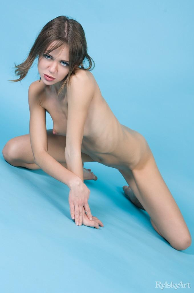 Naked Kalla is posing at a blue studio - 6