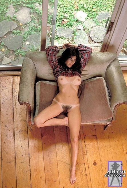 Slim Sue is posing at home and showing her hairy pussy - 12