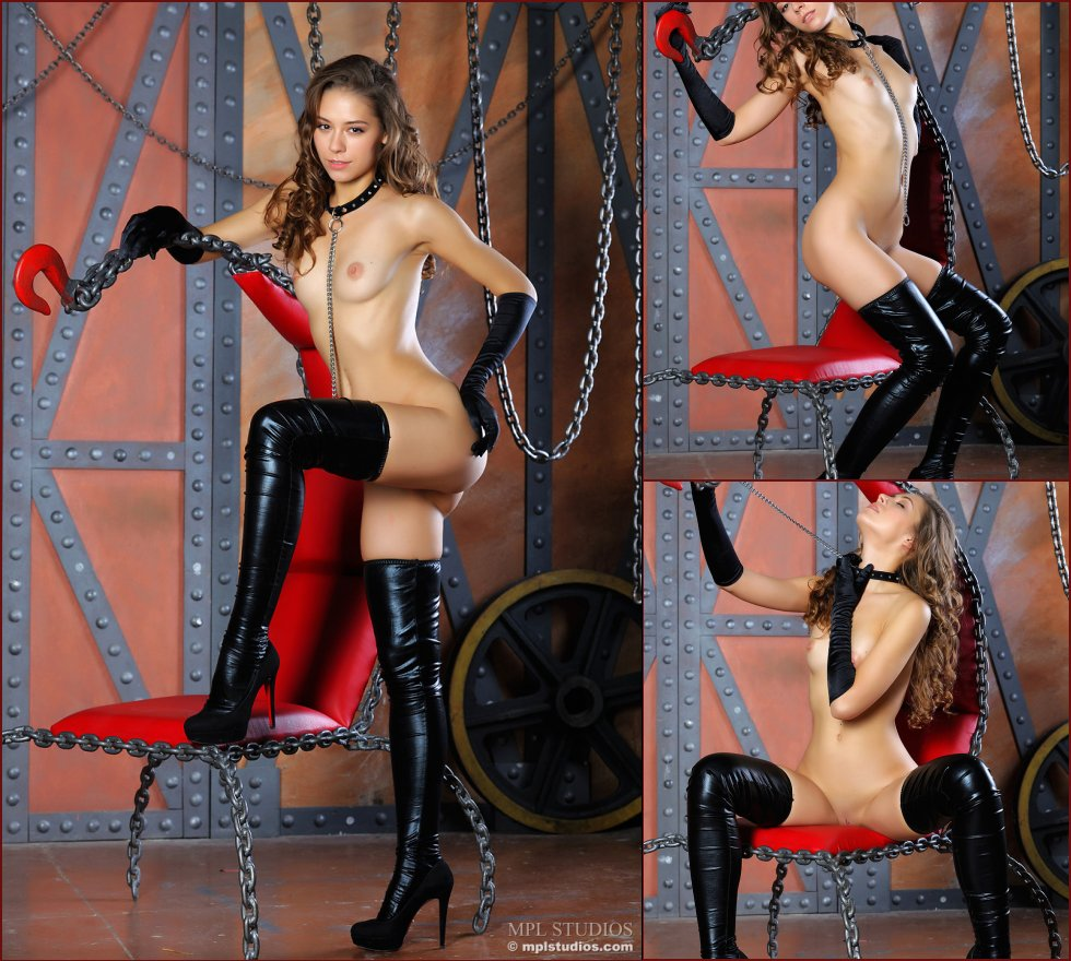 Mysterious Inez is posing in black high boots - 73