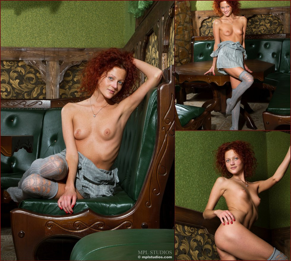 Red-headed Abby is presenting her meaty pussy - 76