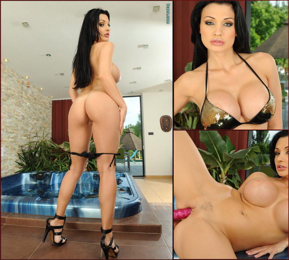 Dark-haired chick is using a big vibrator - Aletta Ocean - 41