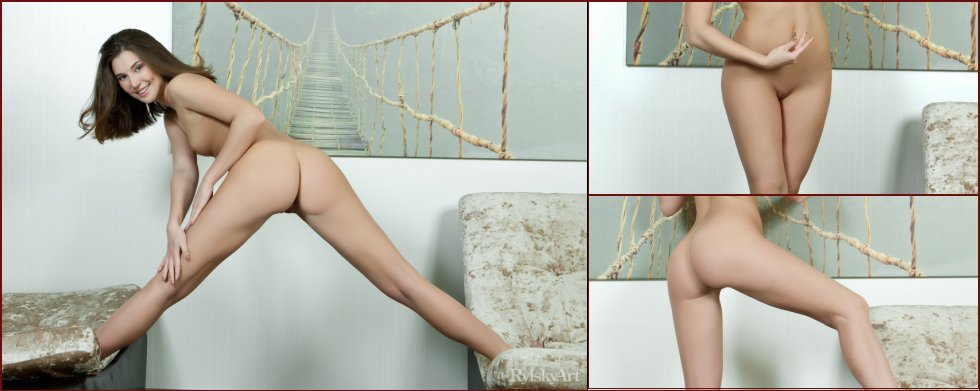 Naked girl is posing on the big couch - Kira Joy - 8