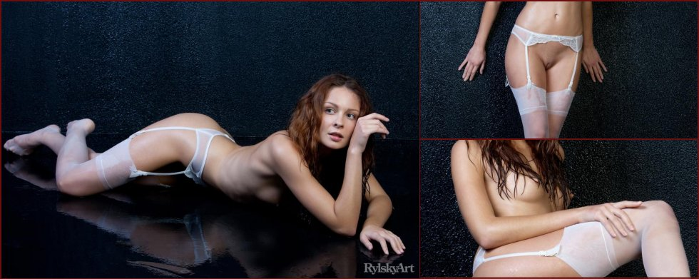 Young Guerlain is posing in stockings - 2