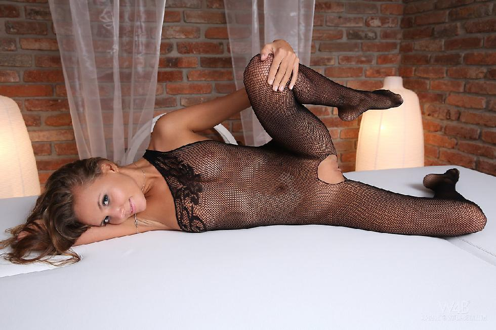 Young girl in sexy black bodystocking - Clover - 1