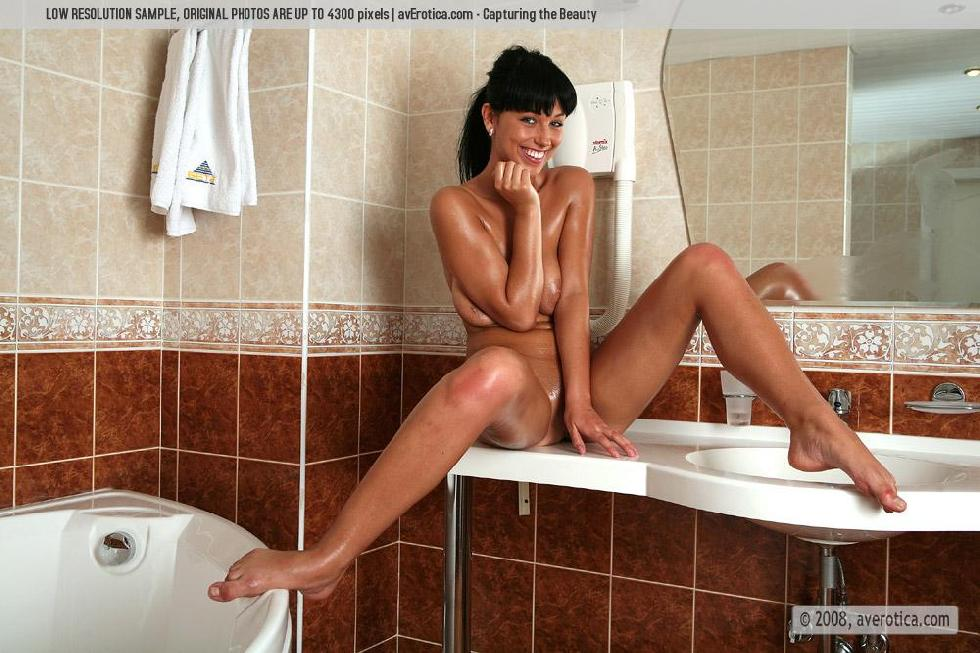 Tanned brunette shows naked body in the bathroom - Helen - 10
