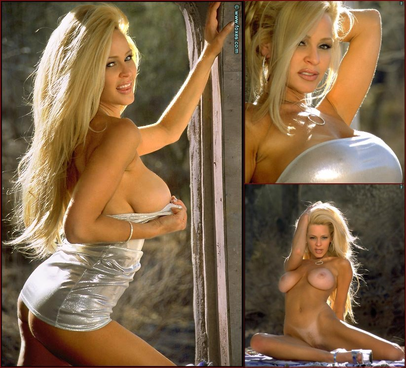 Busty blonde strips her silver dress outdoor - Laura Selway - 21