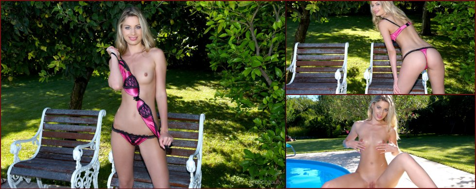 Marylin is showing sweet pussy by the pool - 8