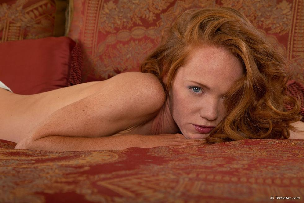 Red-haired temptress is posing on the bed - Heather Carolin - 10
