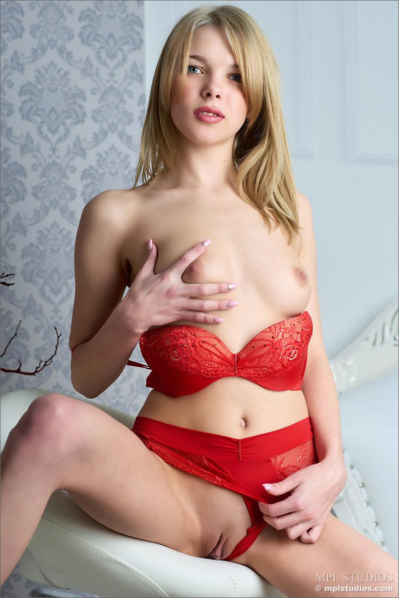 Lovely girl is stripping sexy red underwear - Amanda - 3
