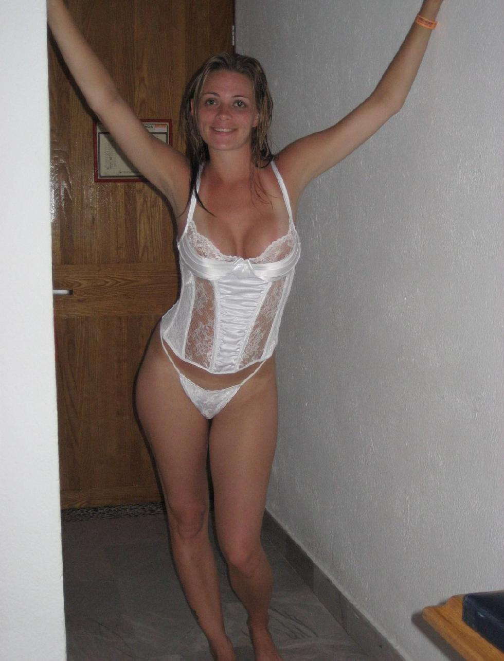 Amateur in sexy white lingerie - 2