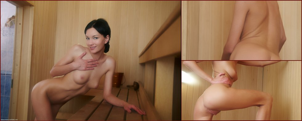 Naked girl shows meaty pussy in sauna - Loreen - 30