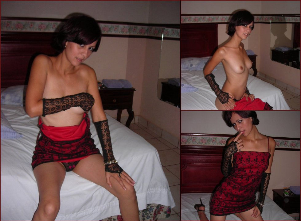 Sexy amateur chick is stripping on the bed - 46