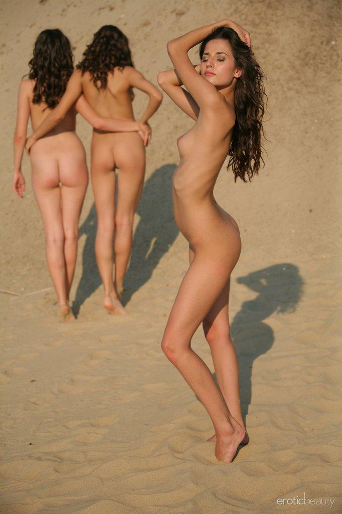 Three young and naked girls on the beach - Irina, Olivia & Vika - 5