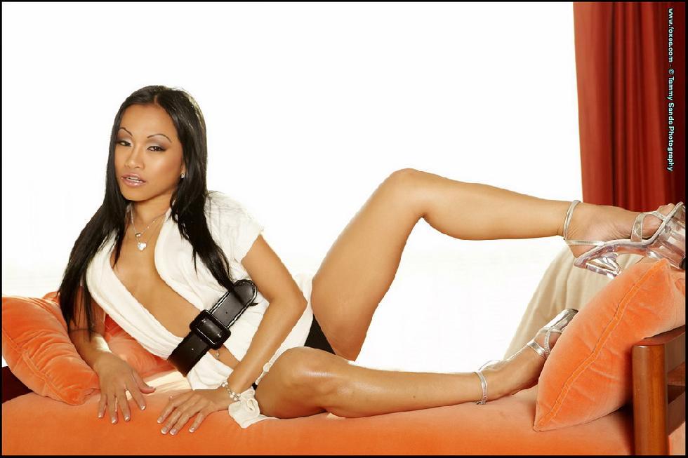 Dark-haired Asian chick shows hot slim body - CJ Miles - 1
