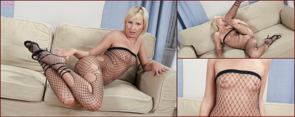 Victoria is posing in sexy fishnet bodystocking - 21