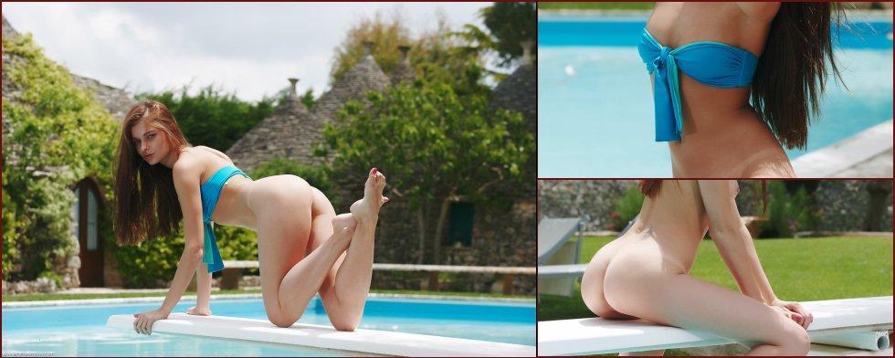 Wonderful Belle is posing by the pool - 28