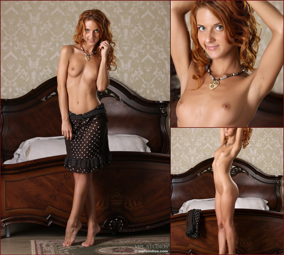 Beautiful redhead shows sweet ass on the bed - Colette - 44