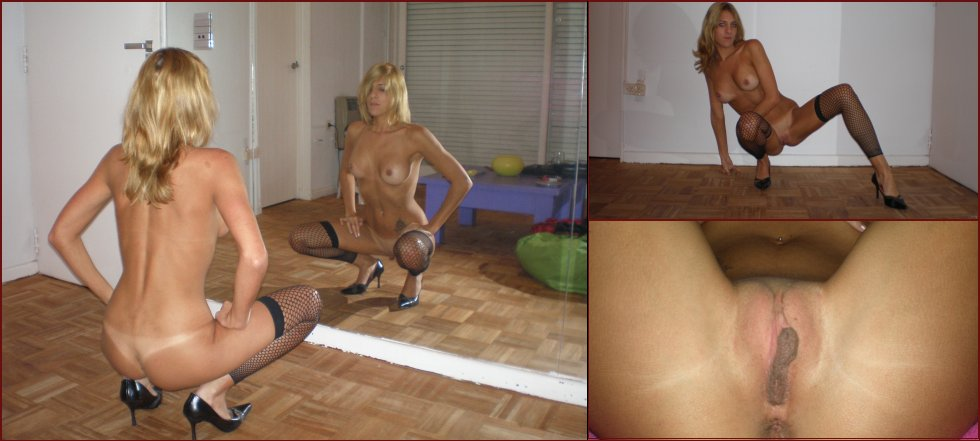 Naked blonde shows meaty pussy - 45