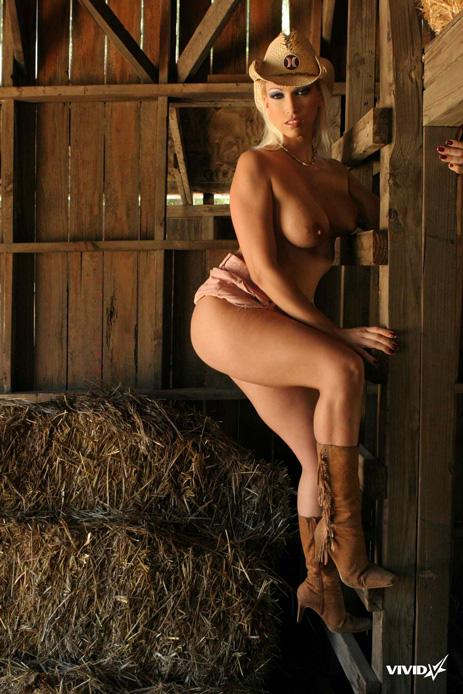 Busty cowgirl is stripping in the barn - Nikki Hunter - 12