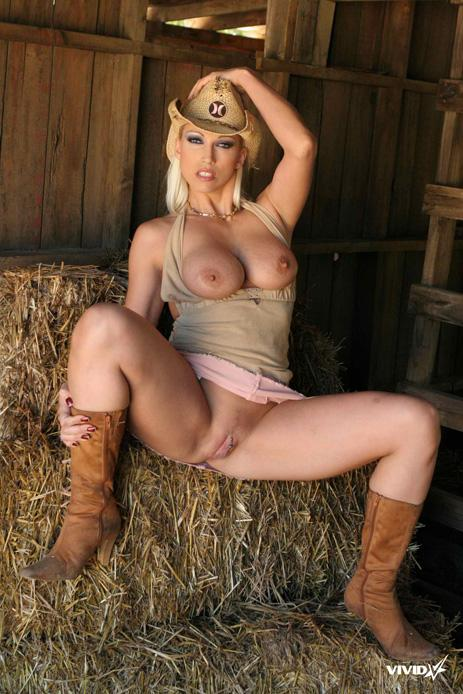 Busty cowgirl is stripping in the barn - Nikki Hunter - 6