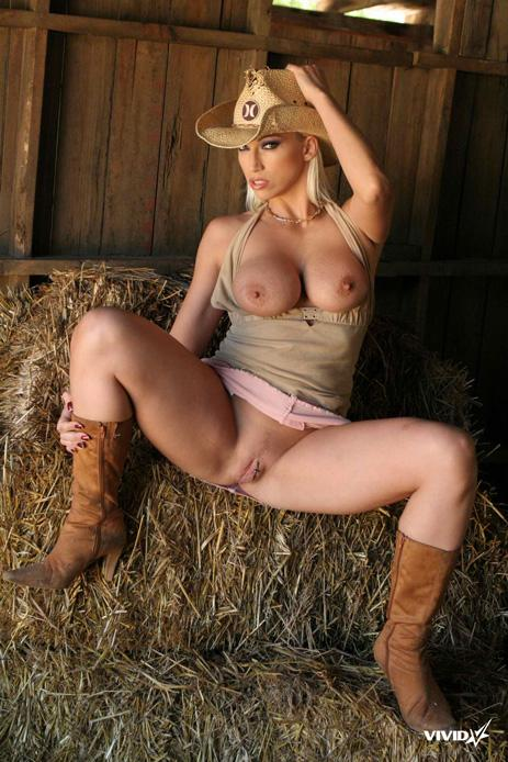 Busty cowgirl is stripping in the barn - Nikki Hunter - 7