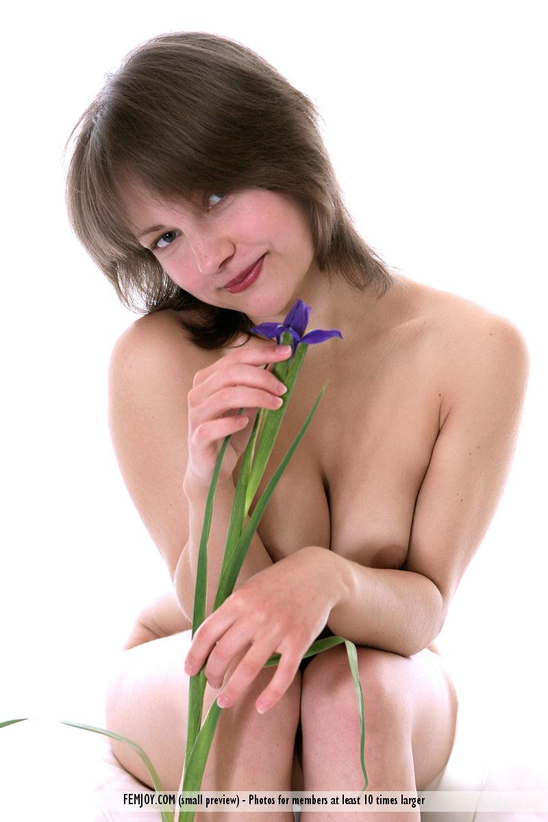 Young naked girl with a flower - Galina - 4