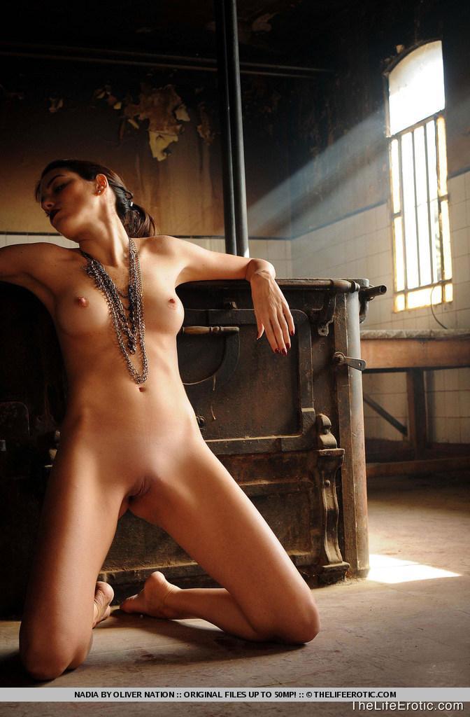 Nadia is posing in old factory - 10