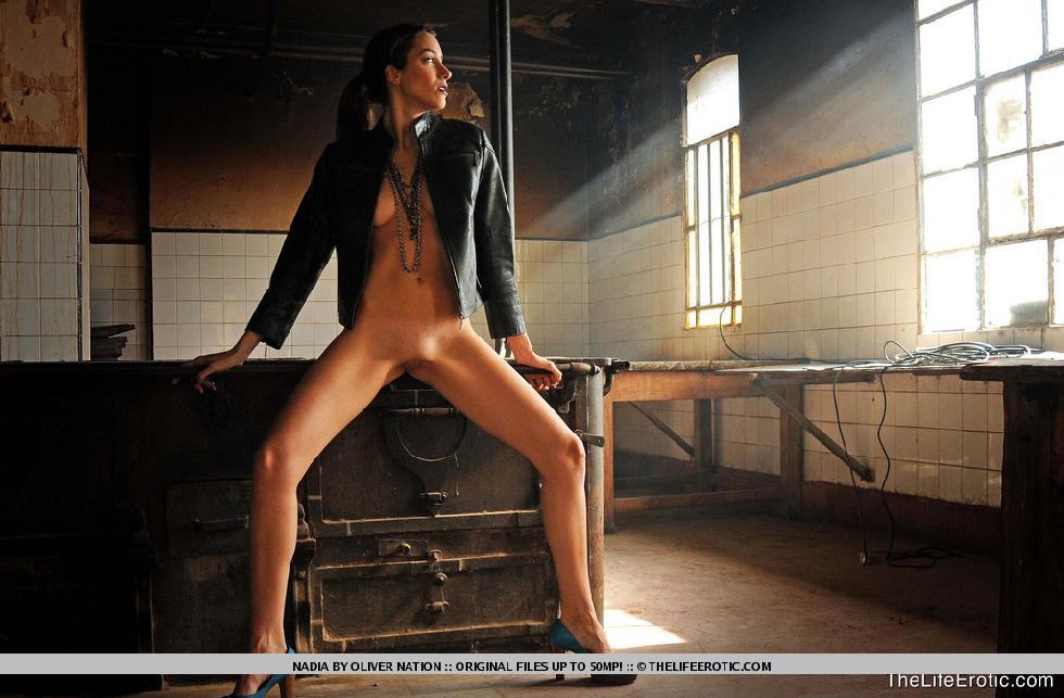 Nadia is posing in old factory - 4