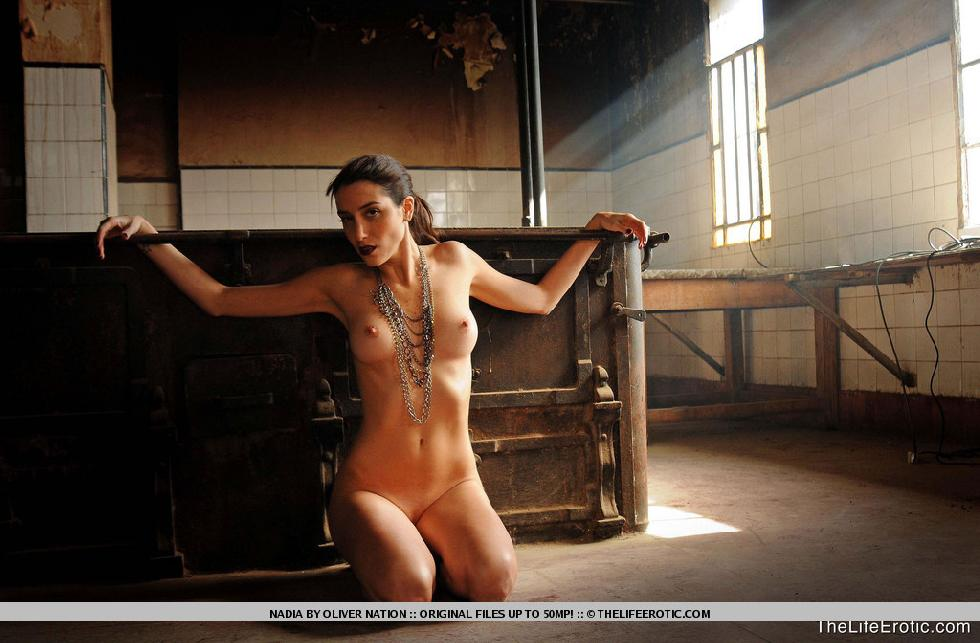 Nadia is posing in old factory - 9