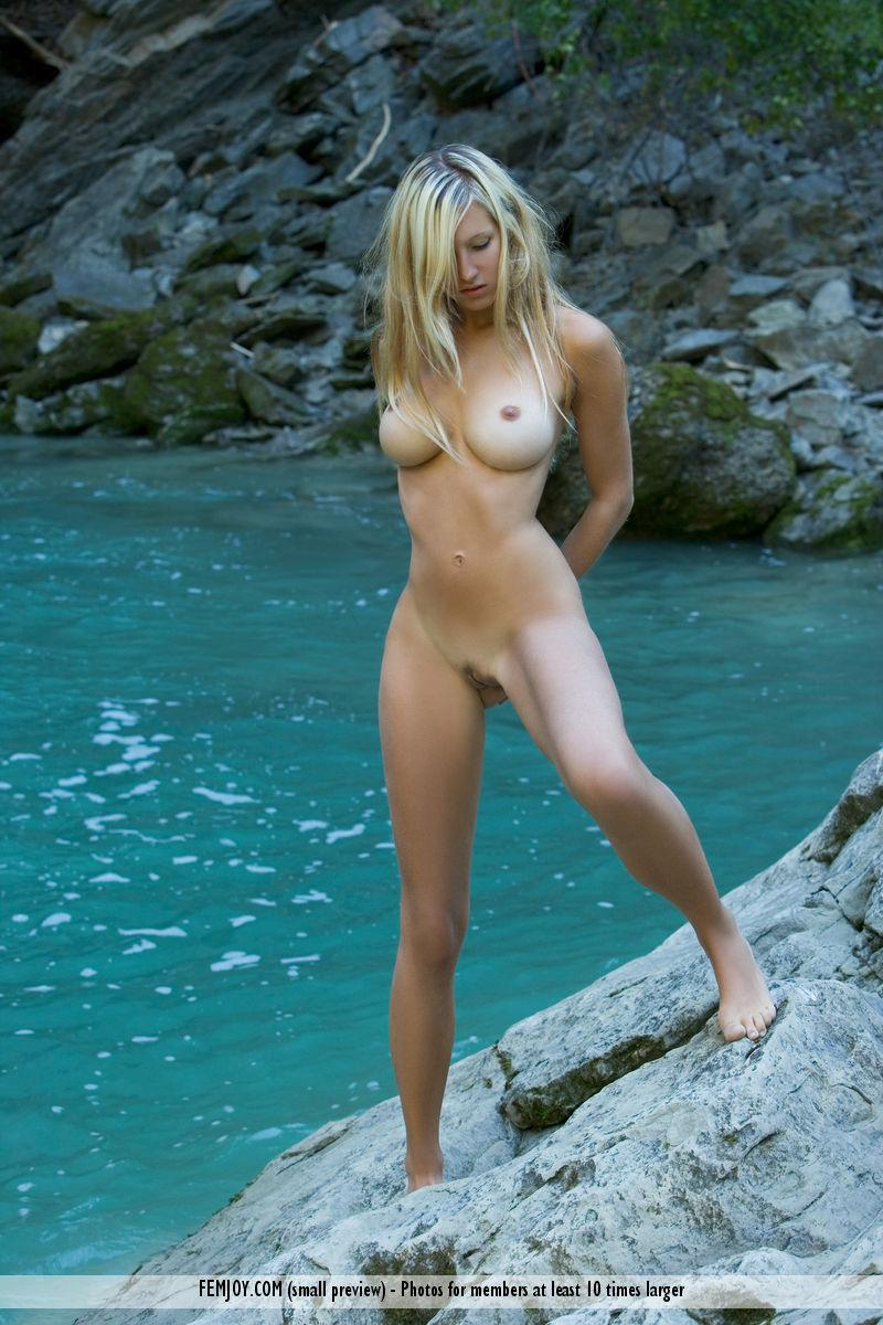 Naked blonde girl by the waterfall - Corinna - 11