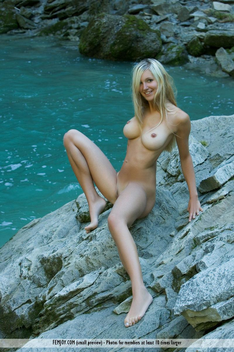 Naked blonde girl by the waterfall - Corinna - 12
