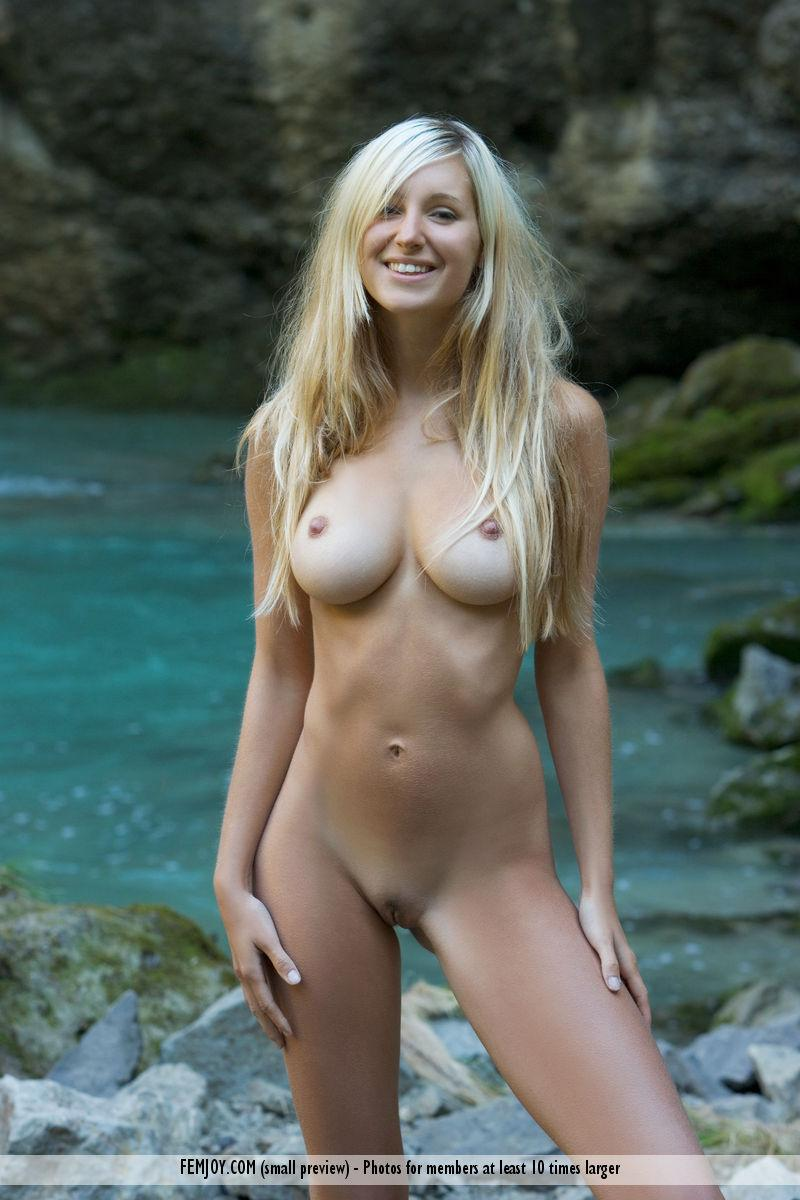 Naked blonde girl by the waterfall - Corinna - 15