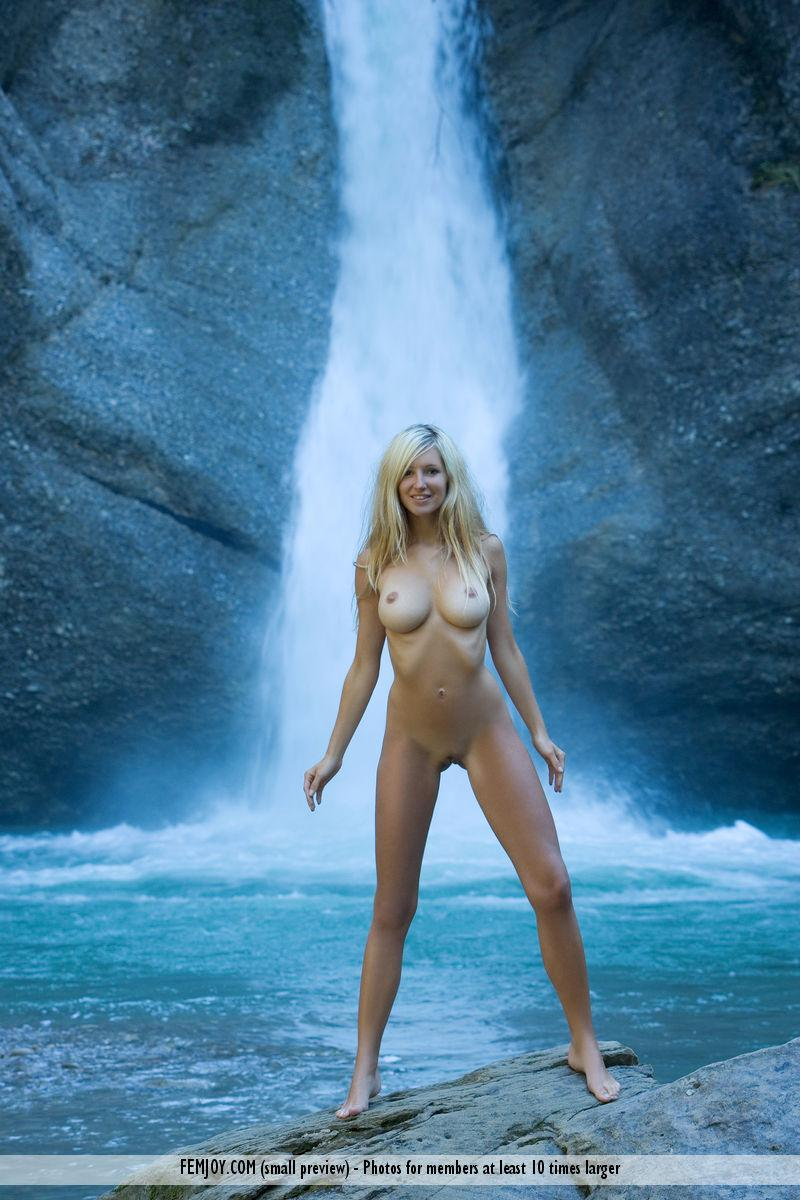 Naked blonde girl by the waterfall - Corinna - 3