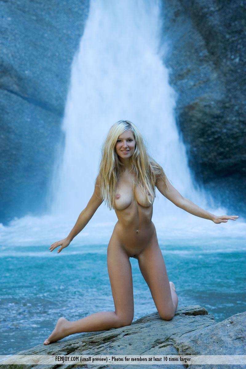 Naked blonde girl by the waterfall - Corinna - 5