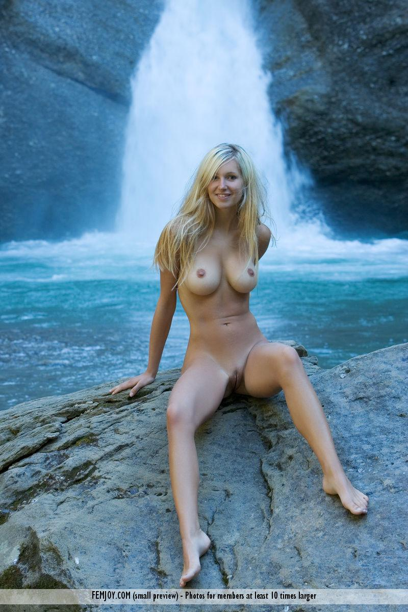 Naked blonde girl by the waterfall - Corinna - 6