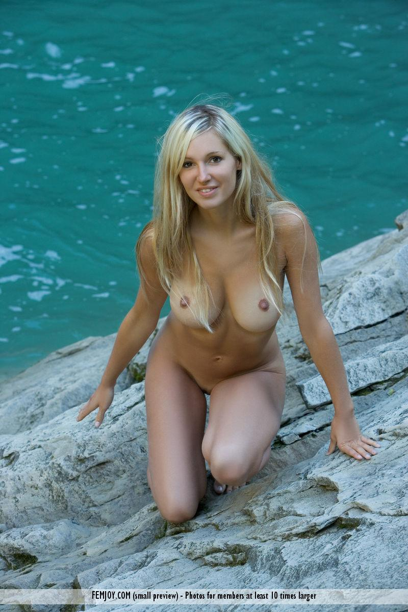 Naked blonde girl by the waterfall - Corinna - 9