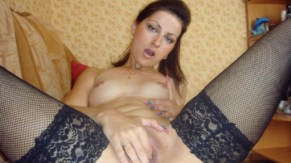 Sexy brunette shows pink meaty pussy - 10