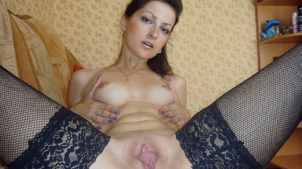 Sexy brunette shows pink meaty pussy - 9