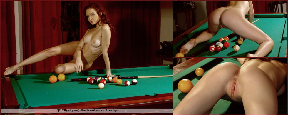 Beautiful redhead on the pool table - Marliece - 5