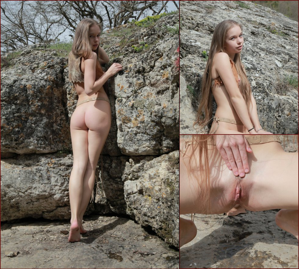 Cute young girl is touching her pussy outdoor - Milena - 16