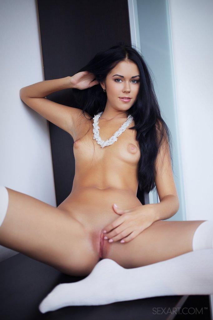 Gorgeous brunette shows pink pussy - Macy - 11