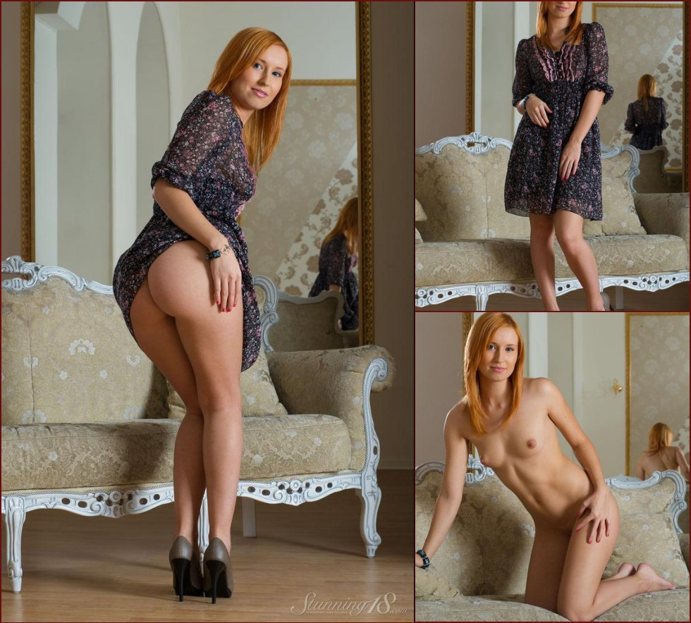 Blue-eyed redhead shows young body - Nikky - 26